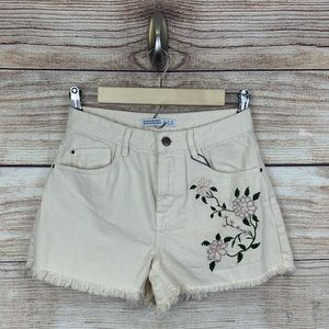 NWT Zara Floral Embroidered High Waisted Shorts